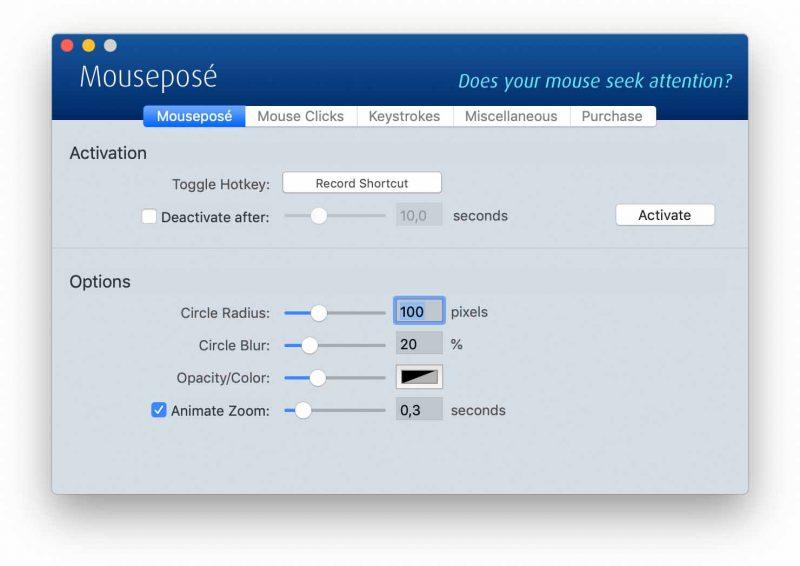 Mousepose Screen