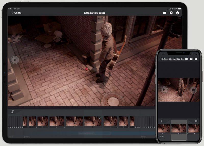iPad and iPhone Screen running iStopMotion iOS