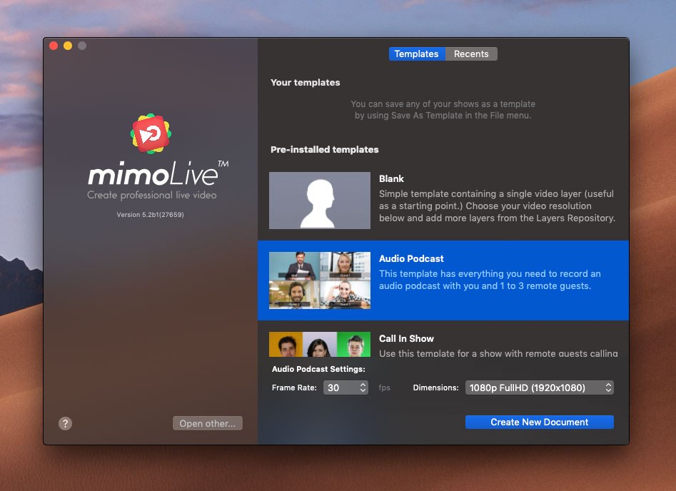 mimoLive Audio Podcast Template