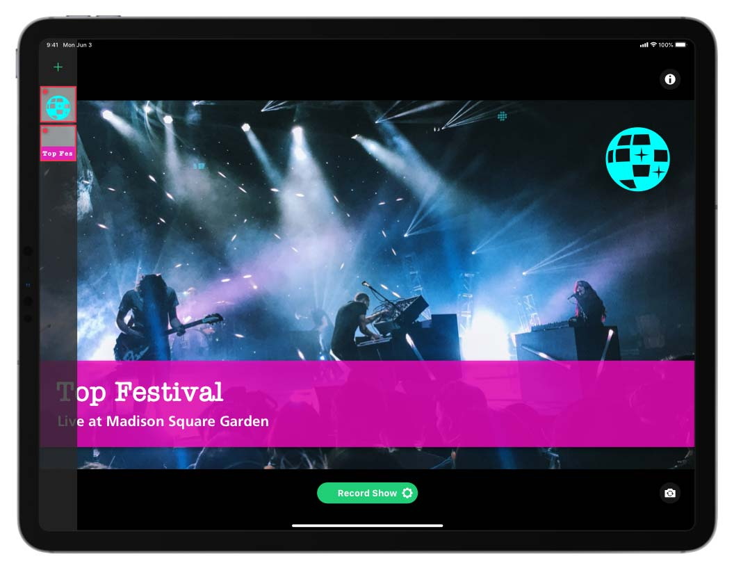 mimoLive Reporter iPad Screen